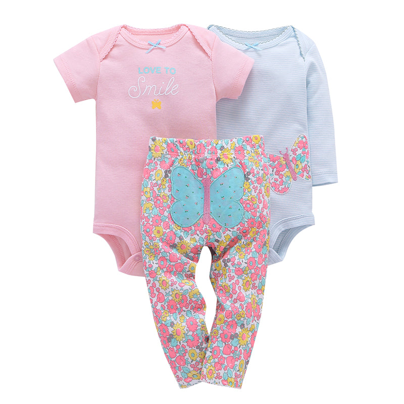 Love to Smile 3-piece set.  These adorable lite multi-coloured floral leggings, for baby, have a butterfly on the bum.  Comes with both short and long sleeve onesies to match.