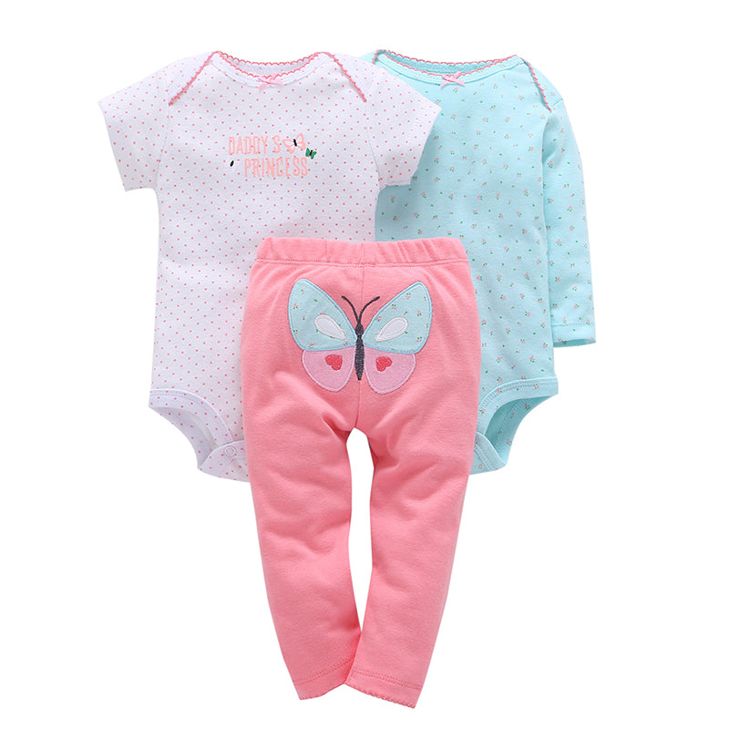Daddy's Butterfly Princess 3-piece set.  These adorable coral leggings, for baby, have a butterfly on the bum.  Comes with both short and long sleeve onesies to match.