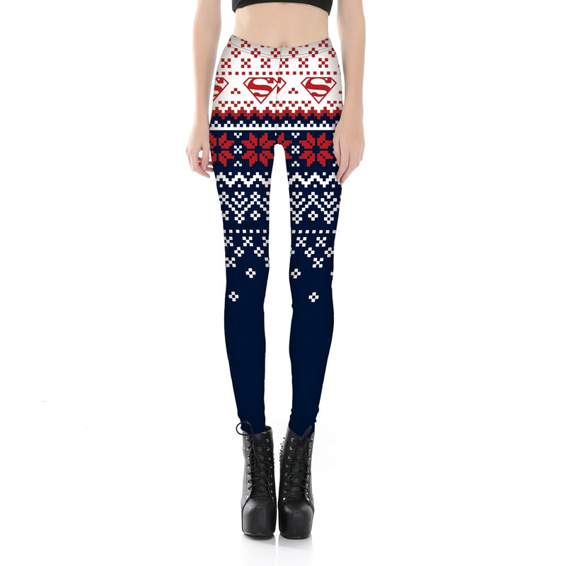 Superman ugly Christmas sweater leggings