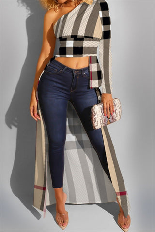 Cold Shoulder plaid