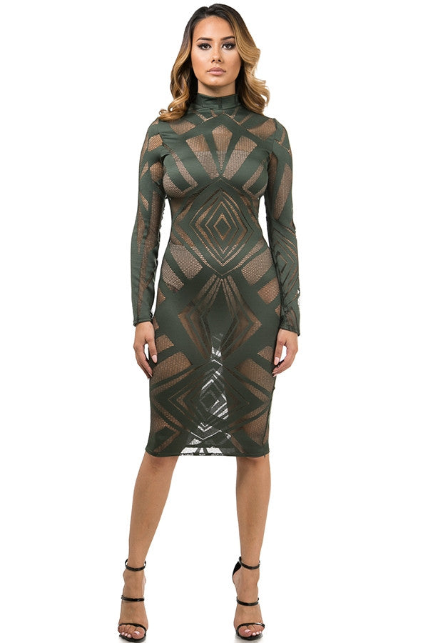 Patterned Sheer Dress