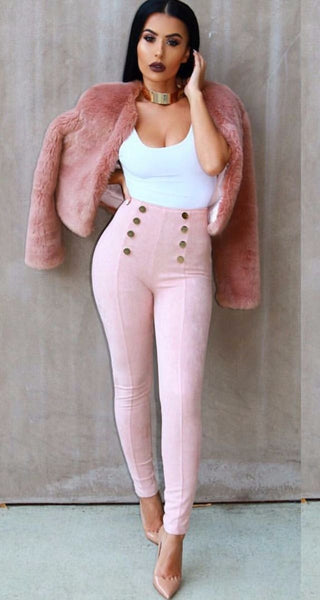 Pink Suede High Waist Pants