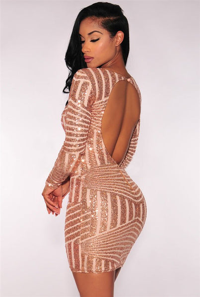 Sequined Backless Mini