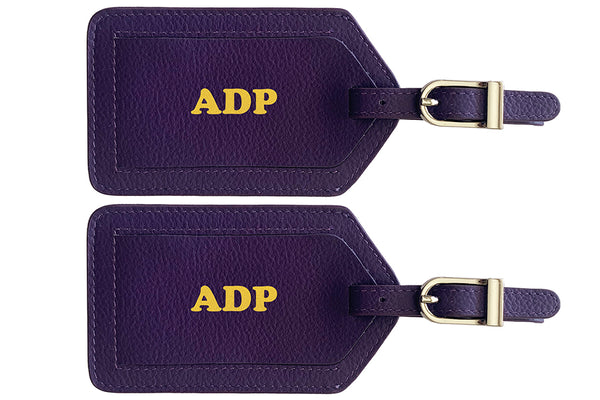 Personalized Monogrammed Leather Luggage Tags - 2 Pack - A&A Creative Designs