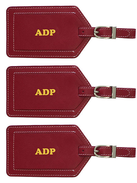 Personalized Monogrammed Leather Luggage Tags - 3 Pack - A&A Creative Designs