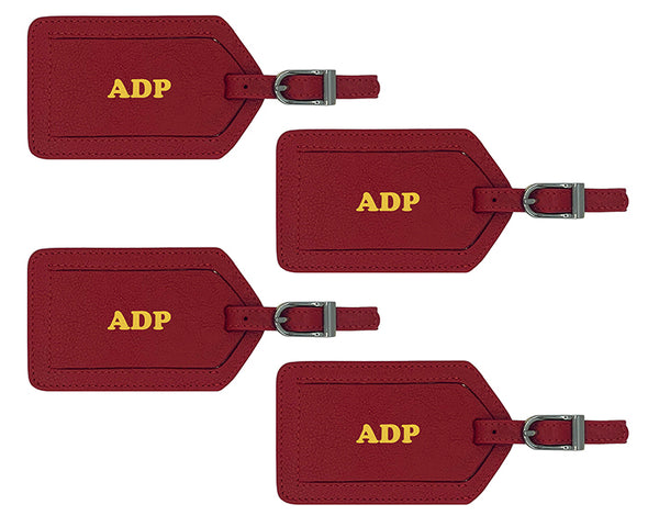 Personalized Monogrammed Leather Luggage Tags - 4 Pack - A&A Creative Designs