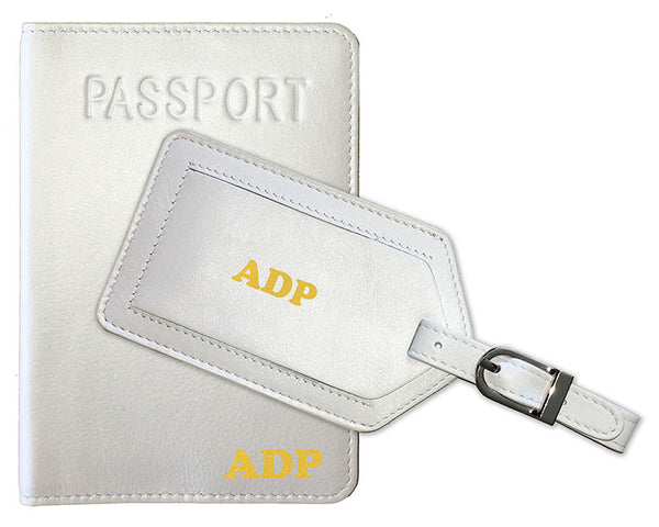 Personalized Monogrammed Leather RFID Passport Cover Holder and Luggage Tag - A&A Creative Designs
