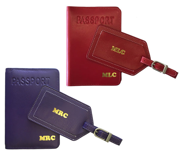 Mr and Mrs Passport Cover and Luggage Tag Set of 2 - A&A Creative Designs