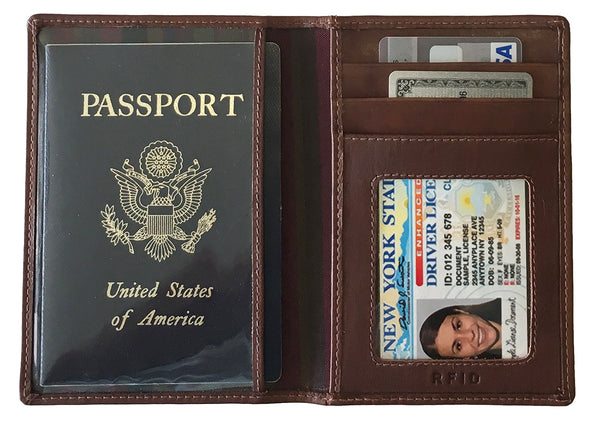 Personalized Monogrammed Leather RFID Passport Wallet - A&A Creative Designs