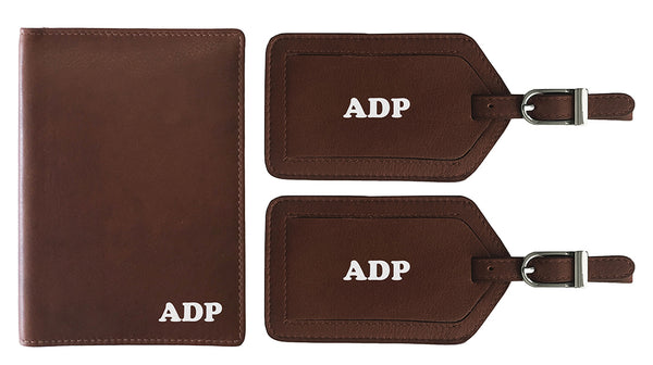 Personalized Monogrammed Leather RFID Passport Wallet and 2 Luggage Tags - A&A Creative Designs