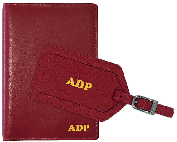 Personalized Monogrammed Leather RFID Passport Wallet and Luggage Tag - A&A Creative Designs