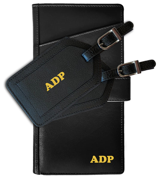 Personalized Monogrammed Leather RFID Travel Wallet and 2 Luggage Tags - A&A Creative Designs