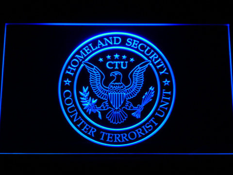 24 Counter Terrorist Unit LED Neon Sign - Blue - SafeSpecial