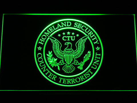 Image of 24 Counter Terrorist Unit LED Neon Sign - Green - SafeSpecial