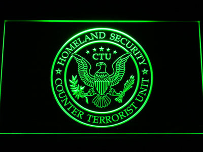 24 Counter Terrorist Unit LED Neon Sign - Green - SafeSpecial