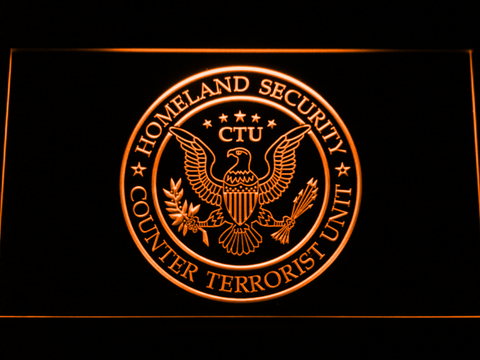 Image of 24 Counter Terrorist Unit LED Neon Sign - Orange - SafeSpecial