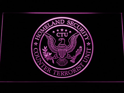 24 Counter Terrorist Unit LED Neon Sign - Purple - SafeSpecial
