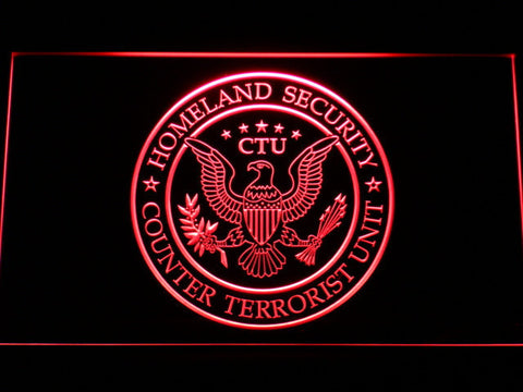 Image of 24 Counter Terrorist Unit LED Neon Sign - Red - SafeSpecial