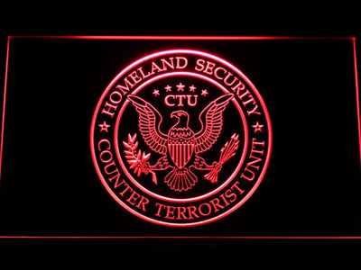24 Counter Terrorist Unit LED Neon Sign - Red - SafeSpecial