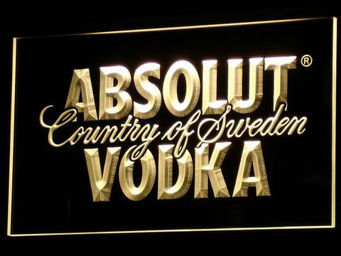 Absolut Vodka LED Neon Sign - Yellow - SafeSpecial