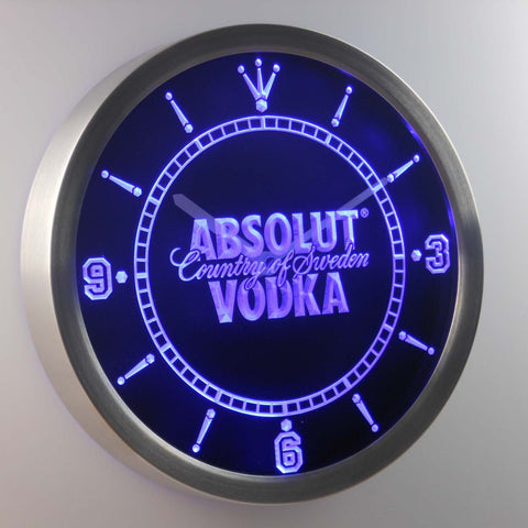 Image of Absolut Vodka LED Neon Wall Clock - Blue - SafeSpecial