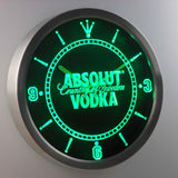 Absolut Vodka LED Neon Wall Clock - Green - SafeSpecial