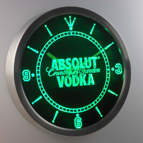 Image of Absolut Vodka LED Neon Wall Clock - Green - SafeSpecial