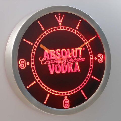 Image of Absolut Vodka LED Neon Wall Clock - Red - SafeSpecial