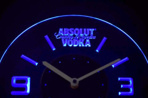 Image of Absolut Vodka Modern LED Neon Wall Clock - Blue - SafeSpecial