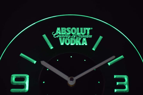 Image of Absolut Vodka Modern LED Neon Wall Clock - Green - SafeSpecial