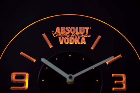 Image of Absolut Vodka Modern LED Neon Wall Clock - Yellow - SafeSpecial