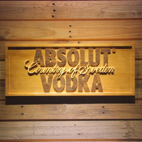 Image of Absolut Vodka Wooden Sign - - SafeSpecial