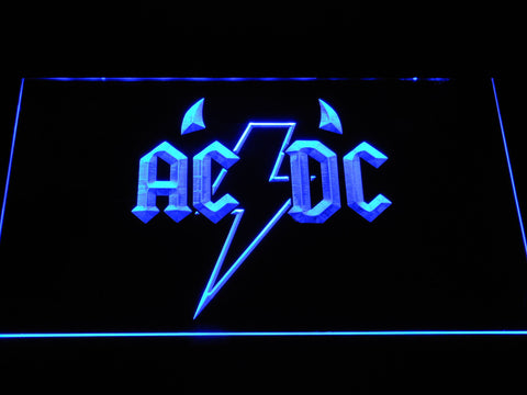 AC/DC Horns LED Neon Sign - Blue - SafeSpecial