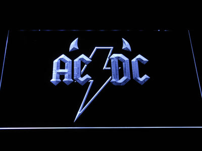 AC/DC Horns LED Neon Sign - White - SafeSpecial