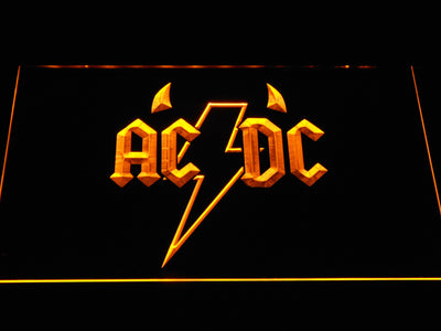 AC/DC Horns LED Neon Sign - Yellow - SafeSpecial