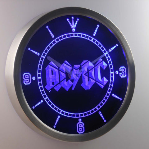 AC/DC Let There Be Rock LED Neon Wall Clock - Blue - SafeSpecial