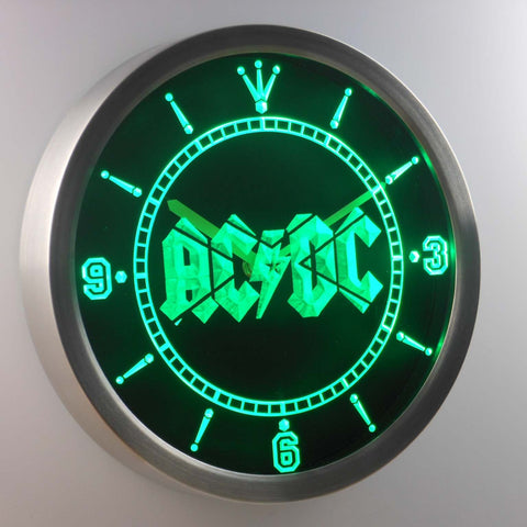 AC/DC Let There Be Rock LED Neon Wall Clock - Green - SafeSpecial