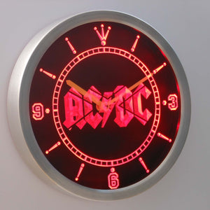 AC/DC Let There Be Rock LED Neon Wall Clock - Red - SafeSpecial