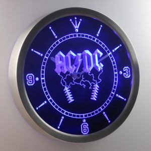 AC/DC Thunderstruck LED Neon Wall Clock - Blue - SafeSpecial