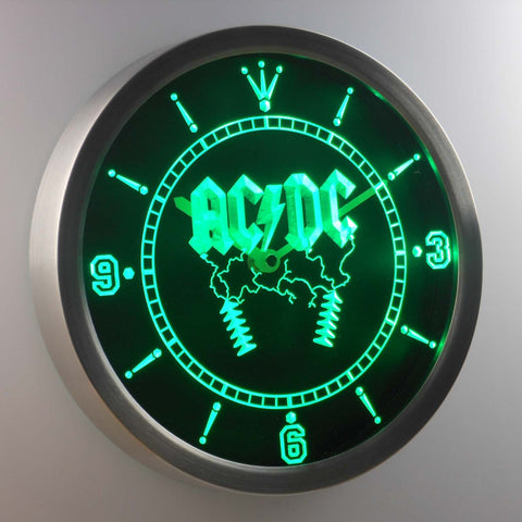 Image of AC/DC Thunderstruck LED Neon Wall Clock - Green - SafeSpecial