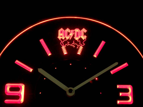 AC/DC Thunderstruck Modern LED Neon Wall Clock - Red - SafeSpecial
