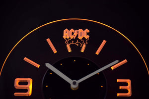 AC/DC Thunderstruck Modern LED Neon Wall Clock - Yellow - SafeSpecial