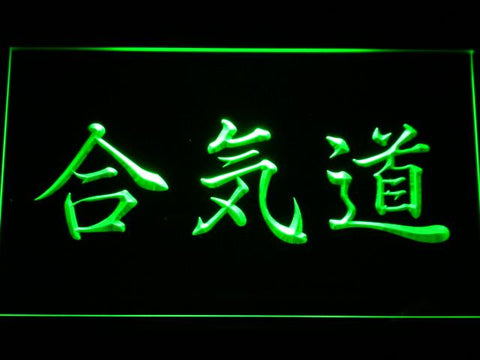 Image of Aikido Kanji LED Neon Sign - Green - SafeSpecial