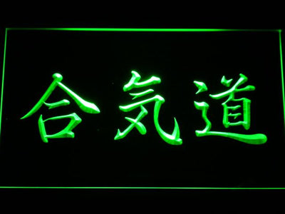 Aikido Kanji LED Neon Sign - Green - SafeSpecial