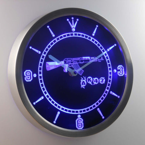 AK-47 LED Neon Wall Clock - Blue - SafeSpecial