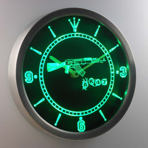 AK-47 LED Neon Wall Clock - Green - SafeSpecial