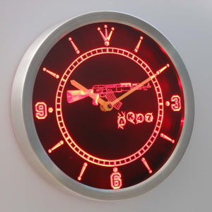 AK-47 LED Neon Wall Clock - Red - SafeSpecial