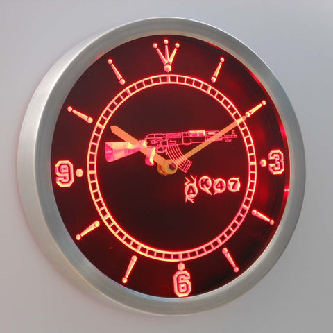 Image of AK-47 LED Neon Wall Clock - Red - SafeSpecial