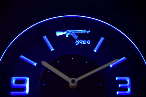 AK-47 Modern LED Neon Wall Clock - Blue - SafeSpecial