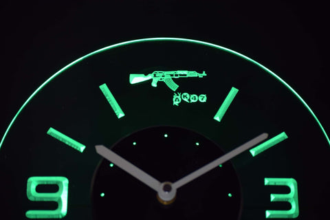 Image of AK-47 Modern LED Neon Wall Clock - Green - SafeSpecial